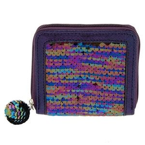 NWT REVERSIBLE SEQUIN OIL SLICK MINI ZIP WALLET
